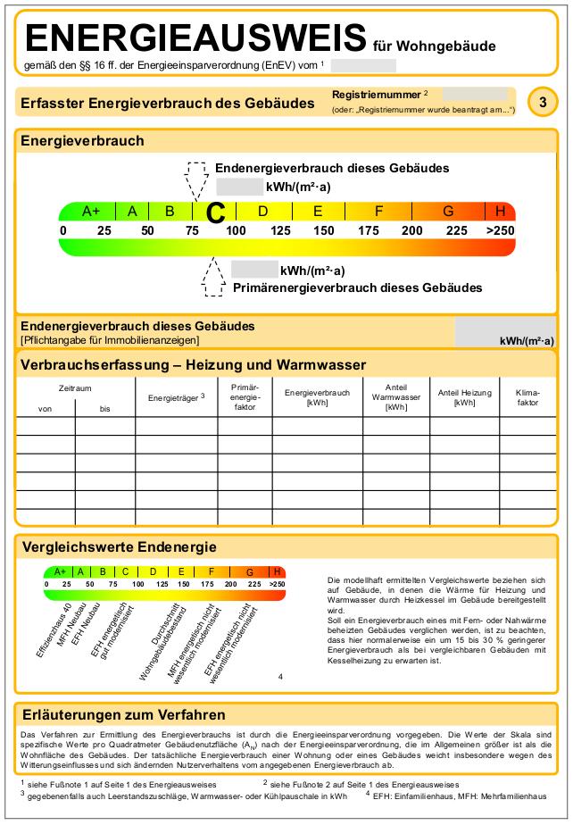 Ein Muster des Energieverbrauchsausweises