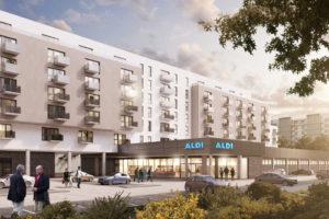 Zweite Projektskizze der neuen Aldi Wohngebäude