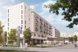 Erste Projektskizze der neuen Aldi Wohngebäude