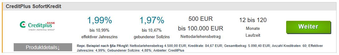 Screenshot eines Kreditangebots inklusieve der Angaben nach Preisangabenverordnung