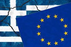 Flaggen von Griechenland und Eurozone