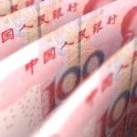 Aufrecht stehende Yuan Bündel (chinesische Landeswährung)
