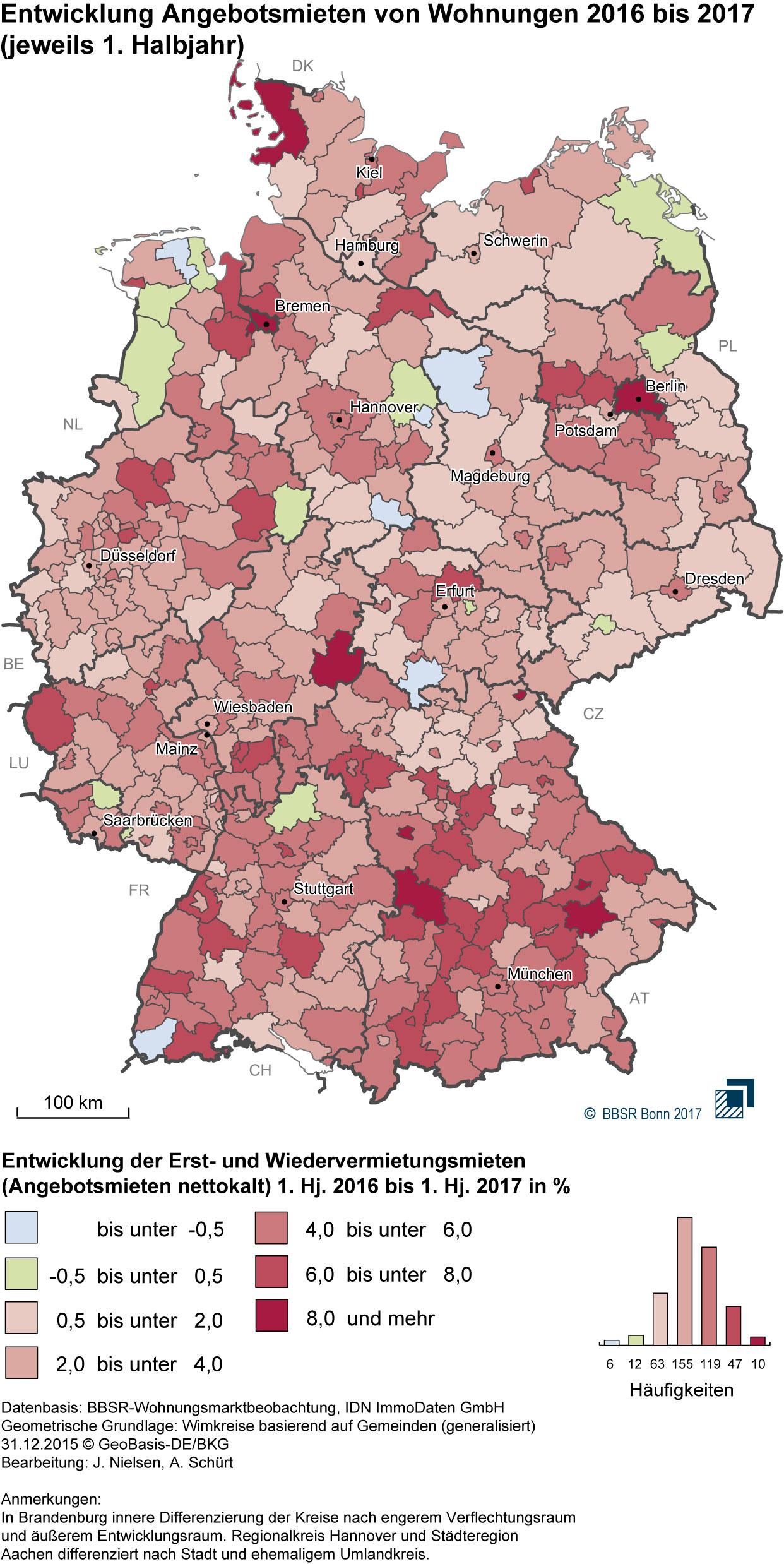 Deutschlandkarte zur Entwicklung der Mieten von 2016 auf 2017 nach Landkreisen