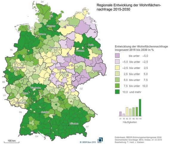 Entwicklung Wohnflächennachfrage Deutschland 2015 bis 2030