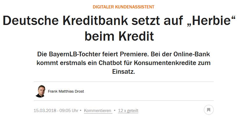 """DKB will Chatbot """"Herbie"""" einsetzen"""