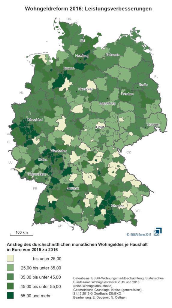 Deutschlandkarte mit unterschiedlich eingefärbten Regionen um den Unterschied der jeweiligen Höhe des Wohngeldes darzustellen