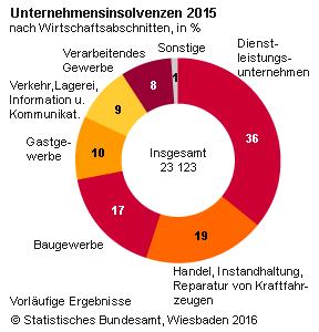 Ein Ringdiagramm zu den Insolvenzen deutscher Unternehmen in 2015