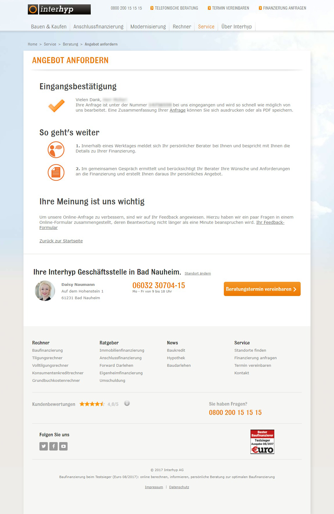 Interhyp Baufinanzierungen Test Und Erfahrungsberichte 012019