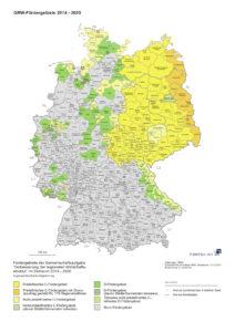 Deutschlandkarte mit farblich gekennzeichneten Fördergebieten je nach Förderstufe