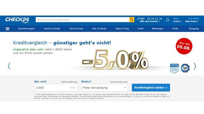 Screenshot von Check24-Website