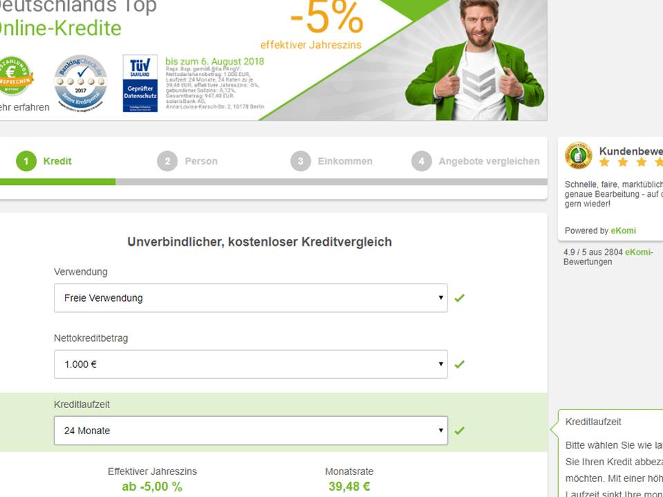 Screenshot von smava-Website
