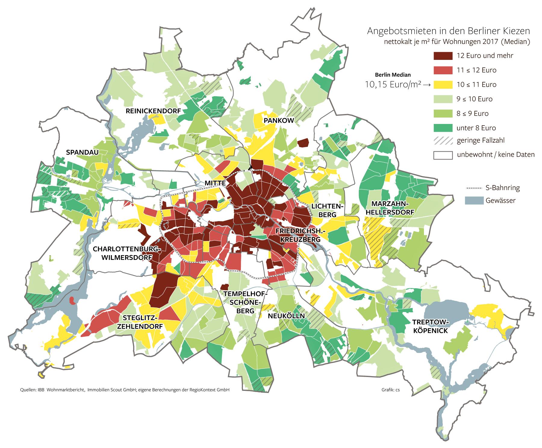 Geografische Karte zeigt die unterschiedlichen Mietpreise in Berlin