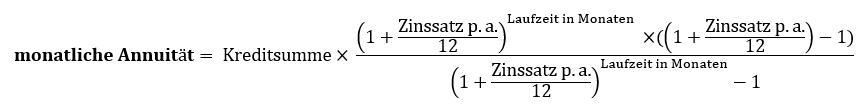 Formel zur Berechnung der monatlichen Annuität
