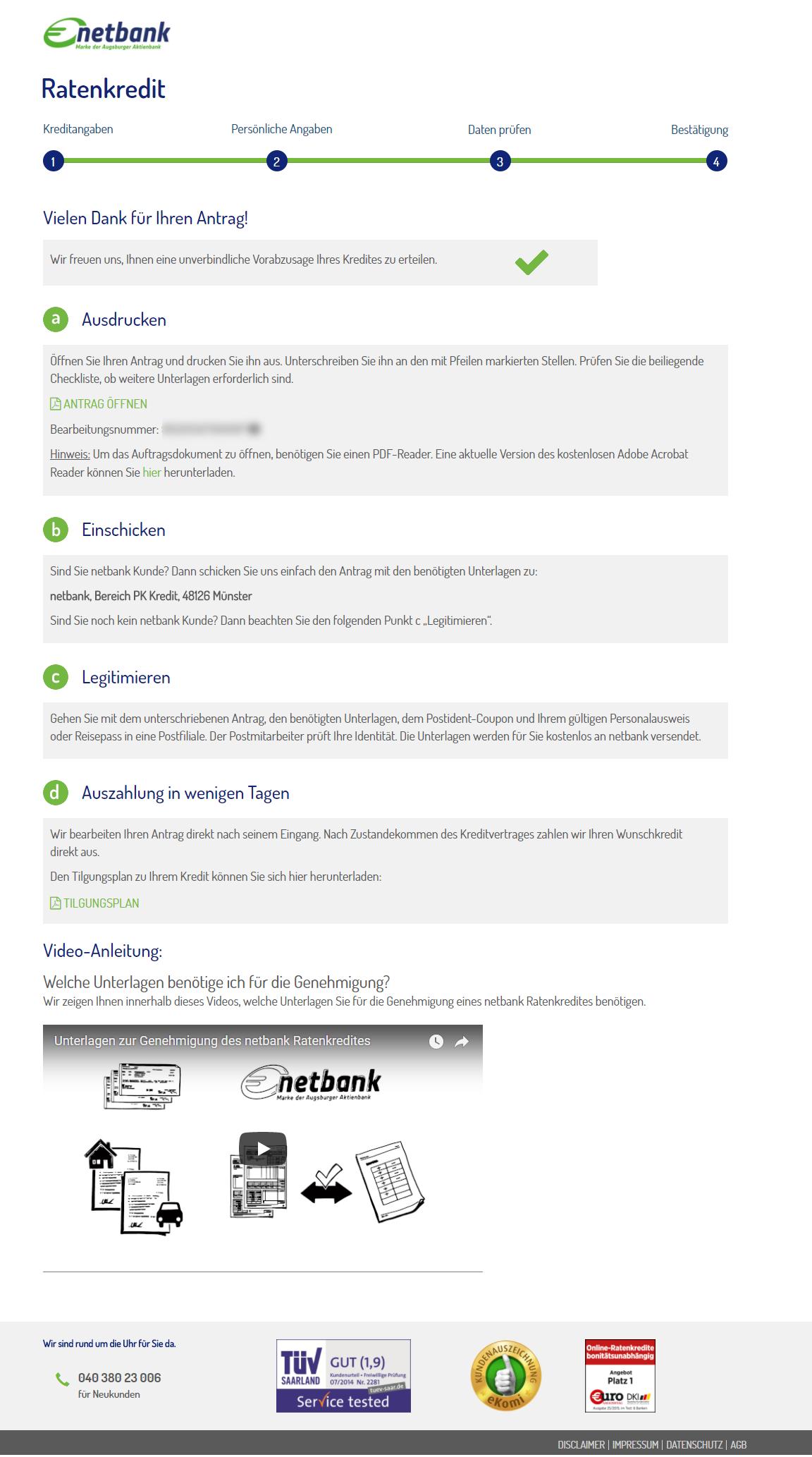 netbank Kredit für Freiberufler  Test und Erfahrungsberichte 10/2018