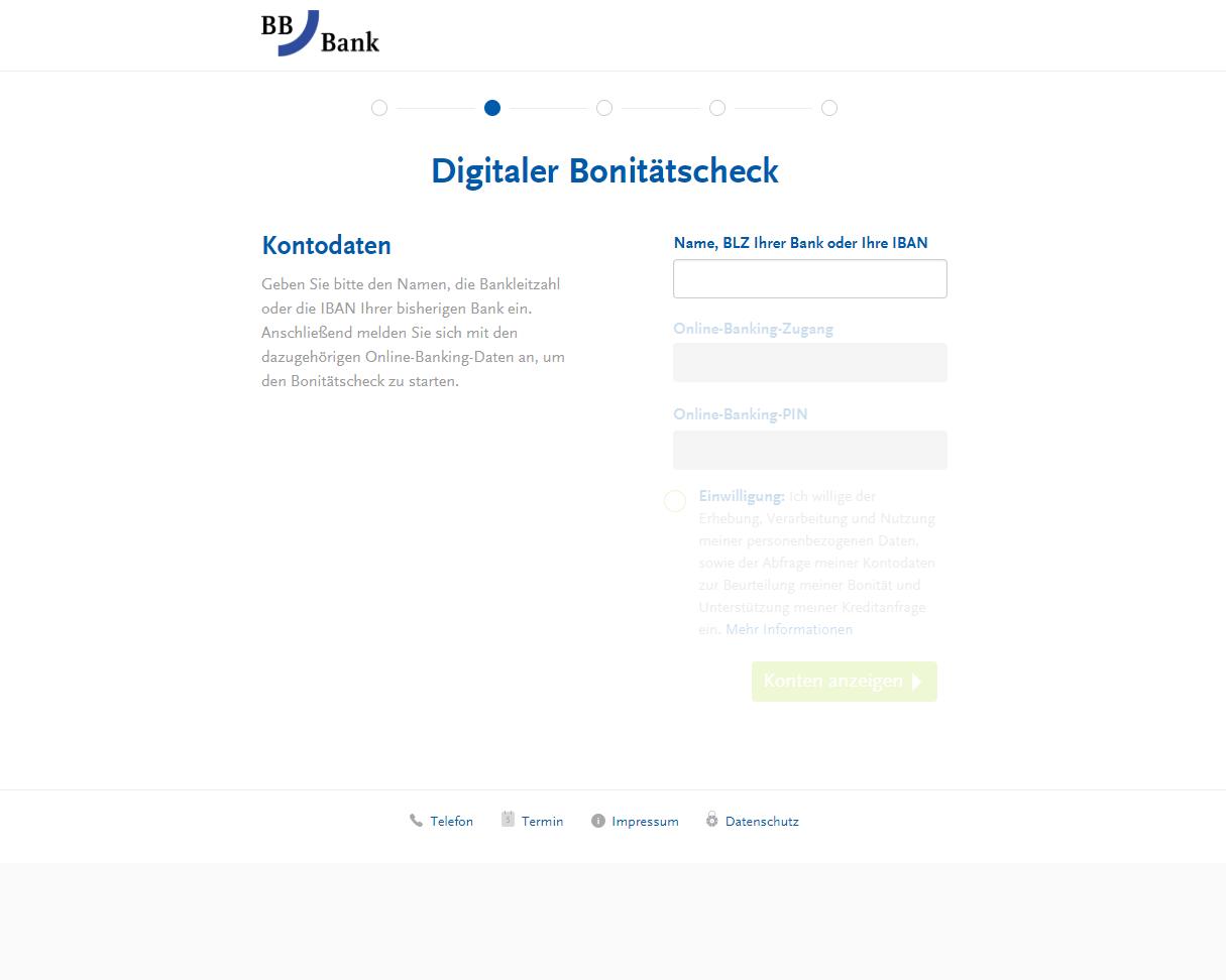 Screenshot Online-Strecke für Kreditantrag