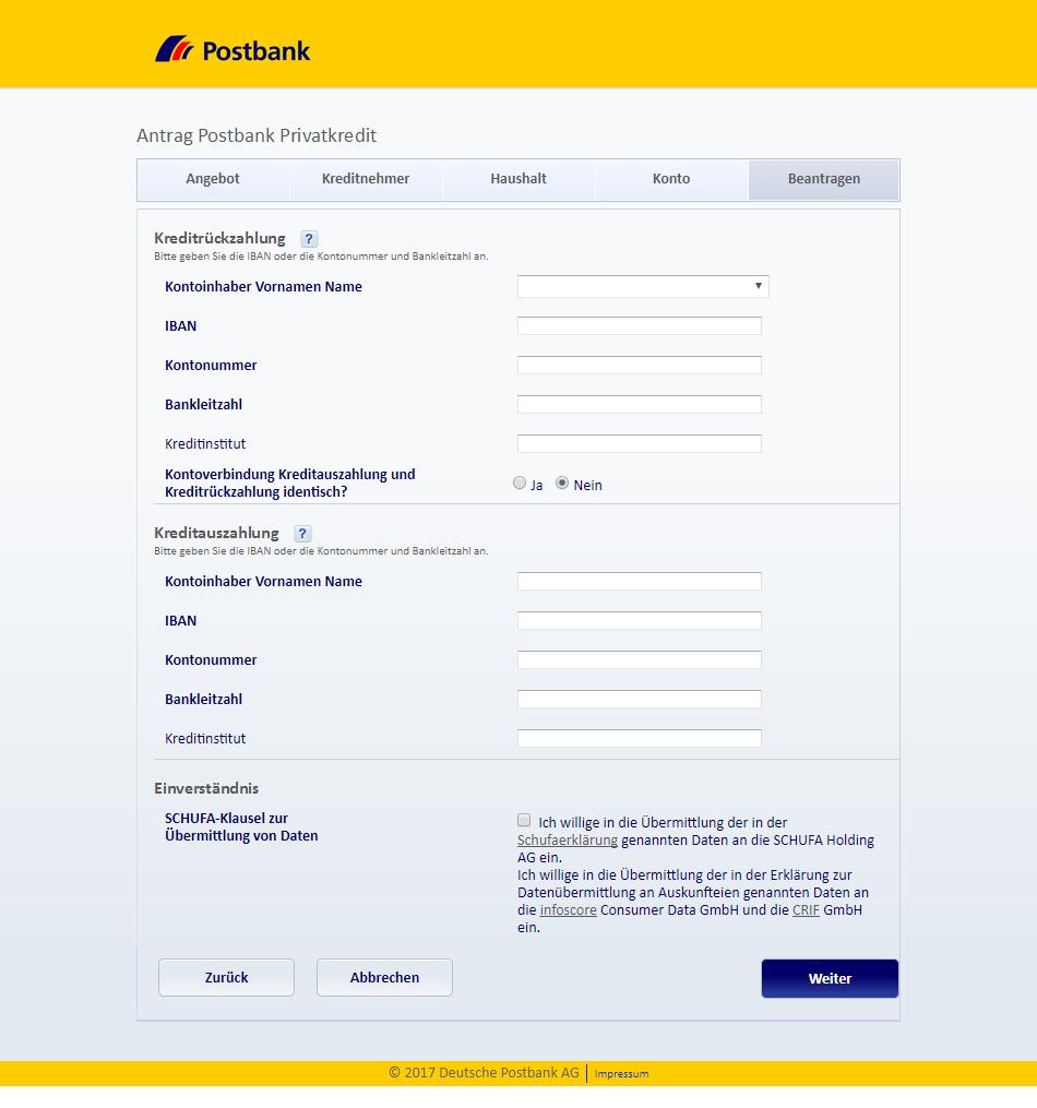 postbank privatkredit login
