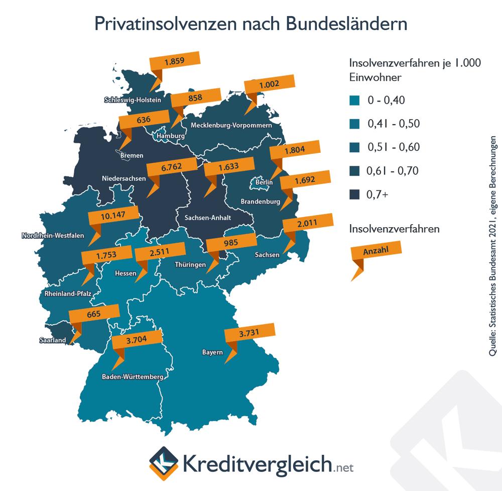 Infografik zu Privatinsolvenzen nach Bundesländern