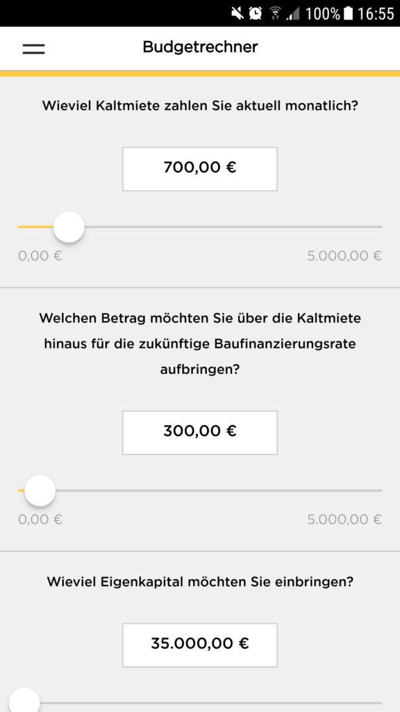 Screenshot der App an der stelle wo der User seine Daten zur Finanzierung eingibt