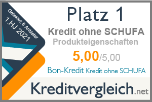 Testsiegel für die Kategorie Produkteigenschaften: 1. Platz für Bon-Kredit Kredit ohne SCHUFA