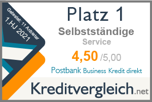 Testsiegel für die Kategorie Service: 1. Platz für Postbank Business Kredit direkt