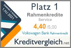Testsiegel für die Kategorie Service: 1. Platz für Volkswagen Bank Rahmenkredit
