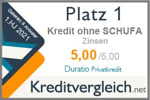 Testsiegel für die Kategorie Zinsen: 1. Platz für Duratio Privatkredit