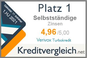 Testsiegel für die Kategorie Zinsen: 1. Platz für Verivox Turbokredit