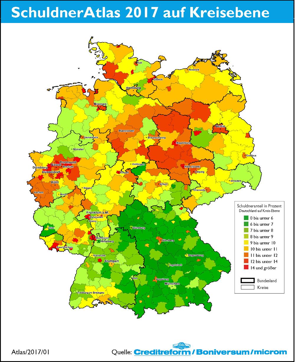 Deutsc hlandkarte mit Farbflächen je nach Überschuldungsgrad der Region