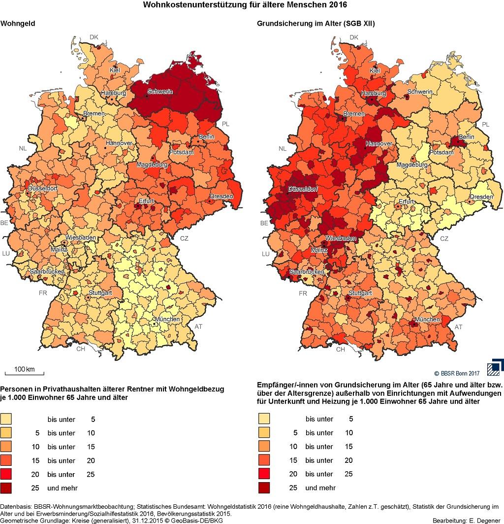 Zwei Deutschlandkarten mit farbigen Flächen je nach Höhe der Grundsicherung oder des Wohngeldes