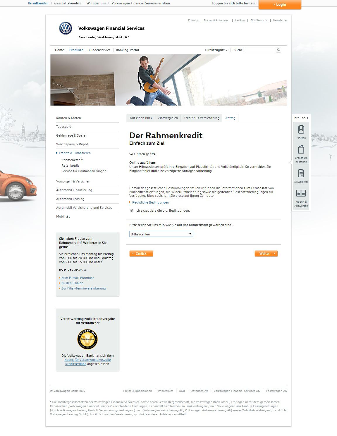 volkswagen bank rahmenkredit test und erfahrungsberichte 12 2019. Black Bedroom Furniture Sets. Home Design Ideas