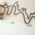 Taschenuhr liegt auf Liniendiagramm. Die Uhrenkette formt den Graphen nach.