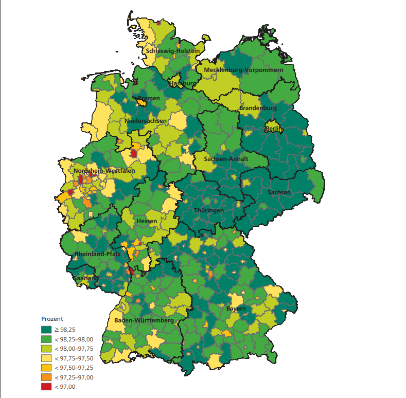 Die Bundesländer im Osten Deutschlands sind laut SCHUFA bei der Rückzahlung ihrer Kredite am zuverlässigsten
